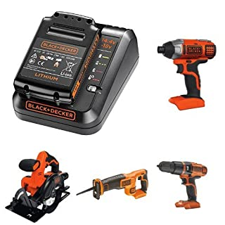 BLACK+DECKER BDC1A15-GB Fast Charger 1.5 Ah Battery, 18 V Lithium-Ion Impact Driver, Hammer Drill, Reciprocating Saw, Circular Saw, Drill Driver and Pendulum Jigsaw Bare Unit (Battery not Included)