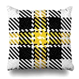 Zierkissenbezüge, Check Black Lumberjack Hipster Pattern Tartan Buffalo White Plaid Abstract Yellow Retro Plaidabstract Pillowcase Square Size 18 x 18 Inches Home Decor Cushion Cases