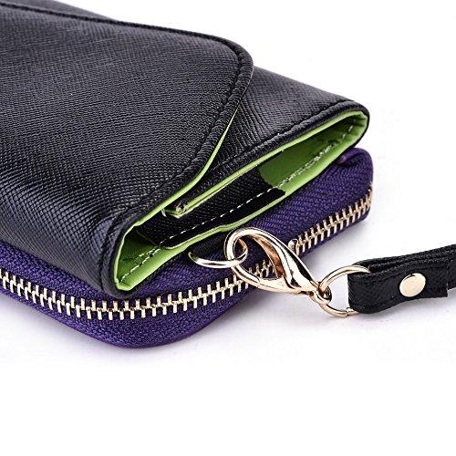 Kroo d'embrayage portefeuille avec dragonne et sangle bandoulière pour Asus Padfone Mini Smartphone Rouge/vert Black and Purple