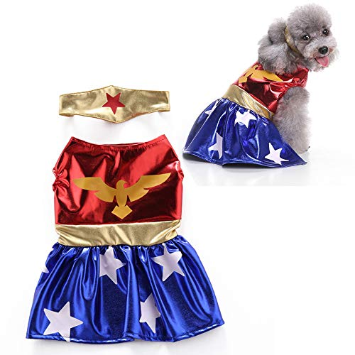 JLCYYSS Haustier Hund Kostüm, Halloween Pet Cosplay Kostüme, Wonder Woman,L (Wonder Haustier Kostüm)