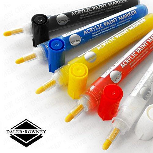 Daler Rowney–Simply vernice acrilica Marker–2mm, colori assortiti, confezione da 5