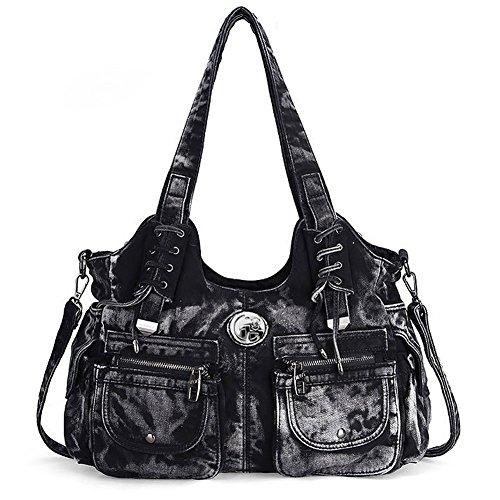 Packingworld Damen Lockerer Europäischer Seil Denim Große Schultertasche Umhängetasche und Handtasche Mehrere Taschen mit Diamanten Schwarz
