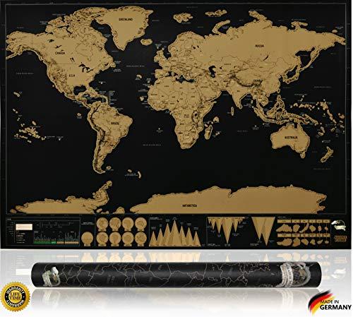 INVENTY Stilvolle XXL Rubbelkarte - Weltkarte zum Rubbeln - Rubbel Weltkarte - Landkarte zum Freirubbeln - Perfektes Geschenk für jeden Reisenden