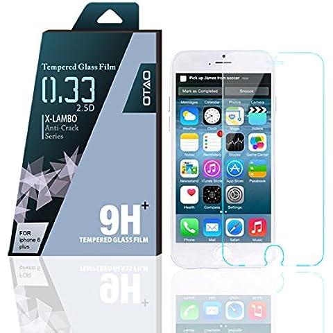 OTAO Apple Iphone 6 Plus 6s más templado Protector de pantalla de cristal curvado del borde D 2,5 Premium claro 0.3ml X Lambo más alto nivel de protección 9H Pro