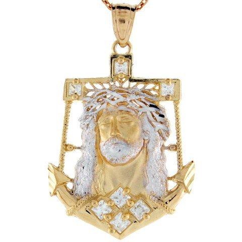 10K Zweifarbig Gelb und Weiß Gold CZ Jesus Kopf anhänger Anker