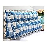 WLHW bedside triangle cushion Triángulo Cojín, Respaldo Grande Doble Funda Suave Funda de Triángulo Sofá Cama Grande Proteger La Cintura Lectura 006 (Color : Blue, Size : 90 * 50cm)