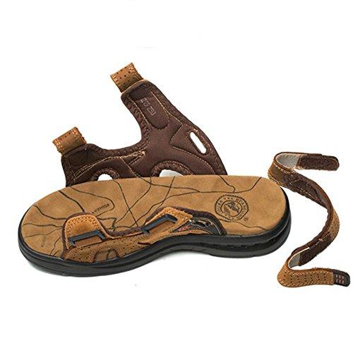 Sandali in pelle da uomo comodi da indossare sandali da spiaggia resistenti e antiscivolo scarpe da passeggio per sport estivi hl1215 dark brown