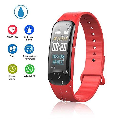 Teepao - Reloj de seguimiento de actividad básico, pulsera inteligente delgada, resistente al agua, con monitor de sueño, podómetro inteligente para pasos de distancia, calorías, color rojo