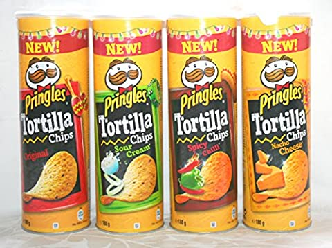 Pringles Tortilla Chips Crisps 4 Variety Pack Large 180g Tubes: Original, Nacho Cheese, Spicy Chilli & Sour Cream. New Snack Selection