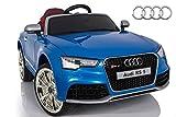 ES-TOYS Kinderfahrzeug - Elektro Auto Audi RS5 - lizenziert - 12V7AH Akku und 2 Motoren- 2,4Ghz MP3 Leder Eva Schlüssel (Blau)