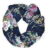 ManuMar Loop-Schal für Damen   Hals-Tuch mit Rosen Blumen-Motiv als perfektes Sommer-Accessoire   Schlauch-Schal - Das ideale Geschenk für Frauen