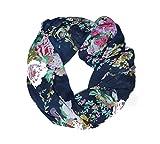 MANUMAR Loop-Schal für Damen | Hals-Tuch in hell-grün mit Rosen Motiv als perfektes Herbst Winter Accessoire | Schlauchschal | Damen-Schal | Rundschal | Geschenkidee für Frauen und Mädchen