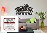 Born to be Wild mit Harley Davidson - Wandaufkleber - Wandtattoo, Motorrad (M070 Schwarz, 980 mm x 600 mm)
