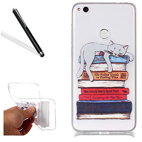 Hülle für Huawei P8 Lite 2017,Durchsichtig Hülle für Huawei P8 Lite 2017,Leeook Elegant Kreativ Mode Schön Ultra Dünn Komisch Faul Katze Gemalt Muster Entwurf Transparent Klar Clear Weich TPU Silikon (Komisch Passt)