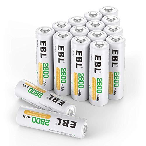 EBL AA Batterie Ricaricabili ad Alta Capacità da 2800mAh Ni-MH,1200 cicli con Auto-Scarica Bassa,Confezione da 16 pezz