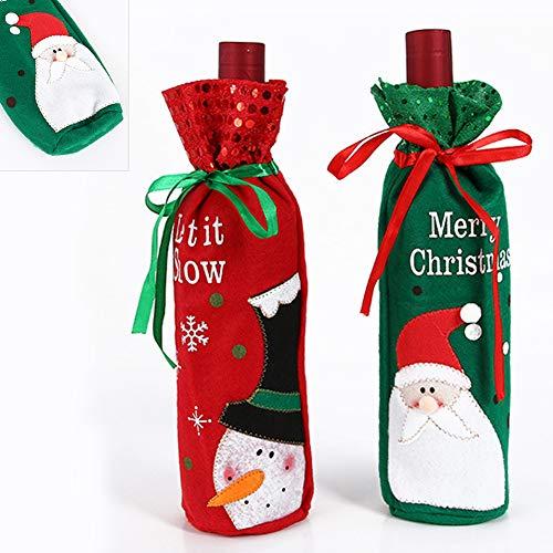 BUOCEANS Beutel, Geschenk, Flanell süße Tisch Deko Santa Schneemann Weihnachten Wein Flasche für Table Dekoration, Weihnachtswein Tasche 2pcs, Color