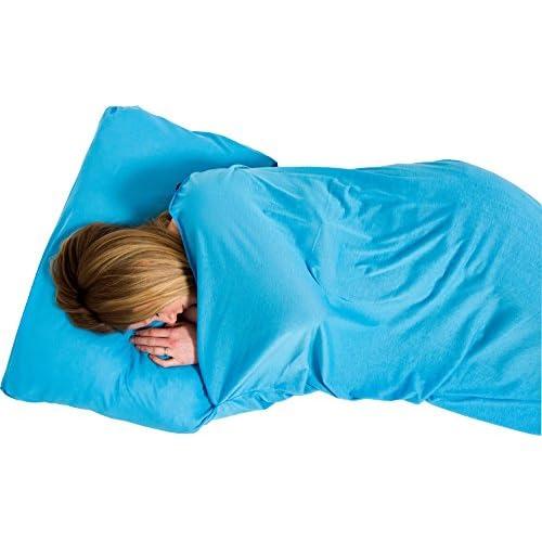 Lifeventure Stretch Coolmax Polygiene Rectangular Sleeping Bag Liners Blue