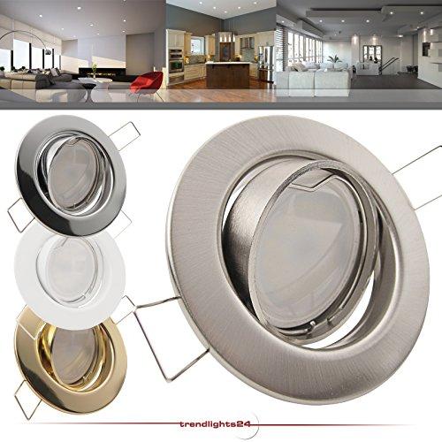 5er Set Einbaustrahler DECORA 230V; Deko SMD LED 1,2 Watt (dekorativ); Kalt-Weiß; schwenkbar; Decken Einbauspot WEISS