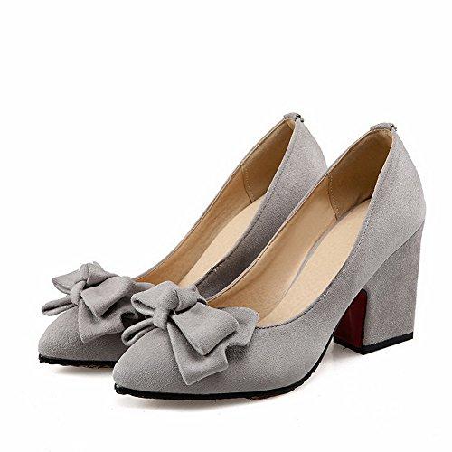 AgooLar Damen Spitz Zehe Hoher Absatz Mattglasbirne Ziehen Auf Pumps Schuhe Grau