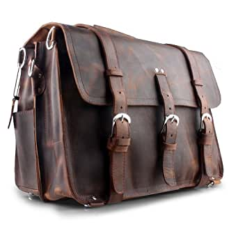 Kattee Crazy Horse Handmade Leather Men's Large Business Travel Messenger Briefcase 16.5 Inch Laptop Backpack