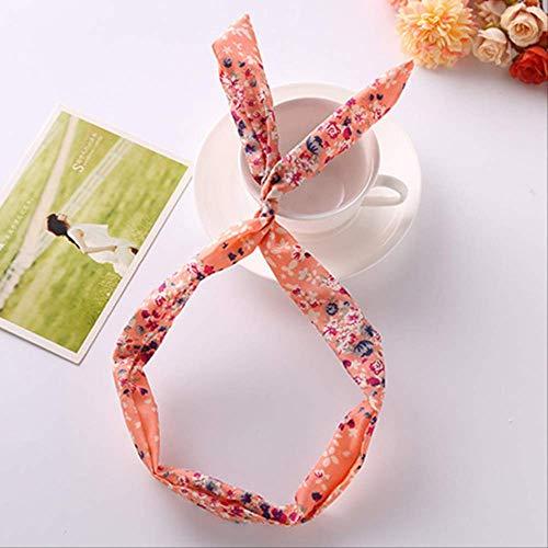 1PC Elastic Adjustable Girls Headband Heart Print Gifts Flower Party Bowknot Wrap Scrunchy Hair Styling Tools Bandana Retro 4 -