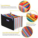 Amaza Clasificadores Carpetas de Acordeón, Colores Archivador Acordeon 24 Bolsillos, Separadores Archivador A4, Archivadores Escolares (Multicolor)