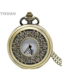 ShopyStore Tiedan New Arrival Hollow Beautiful Leaf Vintage Quartz Pocket Watch For Unisex Gifts Wit