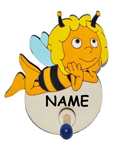 Unbekannt Garderobenhaken - die Biene Maja liegt incl. Name - aus Holz - für Kinder mit 1 Haken - Kinderzimmer / Garderobenleiste Kindergarderobe Garderobe Kleiderhaken..