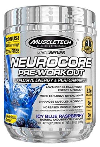 Muscle Tech Pre Workout Kraftsteigerung Stimulanzien Booster Bodybuilding (Neuroscore Pro Serie- Blue Raspberry) - Infundiert Formel