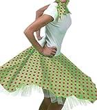 Karnevalsbud - Damen Erwachsenen Rock und Schal im Rock´n´Roll Style mit Punkten, M-3XL, One Size, Grün