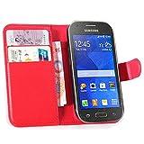 Tasche für Samsung Galaxy Ace Style G310 Hülle, Ycloud PU Ledertasche Flip Cover Wallet Case Handyhülle mit Stand Function Credit Card Slots Bookstyle Purse Design rote