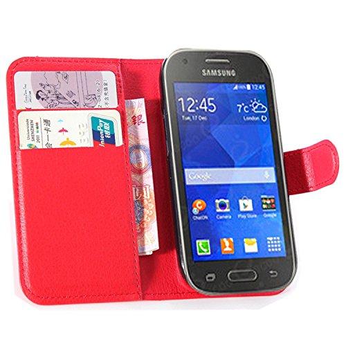 Ycloud Custodia Cover per Samsung Galaxy Ace Style G310 Portafoglio Tasca Book Folding Custodia In Pelle Con Supporto di Stand Cover Case Custodia Pelle Con Stilo Penna Rosso