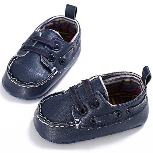 BZLine® Cuir Artificiel Chaussures aux lacets de Style souple pour Bébés Unisexes 0-18Mois Marine