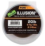 Fox Edges Illusion Flurocarbon Leader 50m khaki - Vorfachschnur zum Karpfenangeln, Fluorocarbon Vorfach für Karpfen, Karpfenvorfach, Durchmesser/Tragkraft:0.40mm / 20lb / 9.09kg Tragkraft
