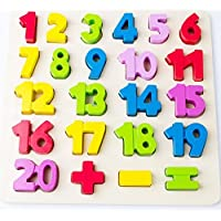 Babe Rock Number Wooden Learning Puzzle Board Shape Numbers Puzzle Toy for kids 24 Pieces