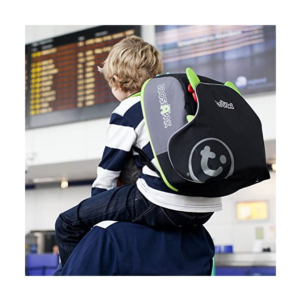 Trunki BoostApak - Travel Backpack & Child Car Booster Seat for Group 2-3 (Green)  QUICKLY TRANSFORMS – Kid's bag to portable booster cushion in seconds (featuring internal hard shell and fold out seatbelt guides) AVOID HIRE CHARGES - On fly drive holidays! Can also be used as dining, cinema or stadium booster to see the action HAND LUGGAGE - 8-litre capacity for packing toys/games/stationary keeping children entertained on the go 5