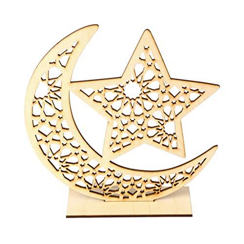 oukerst Holz Eid Mubarak Muslim Ramadan Mond Stern Platte Anhänger Dekoration Ornament DIY Home Party Supplies (Home Party Supplies)