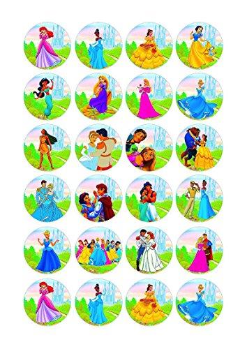 Cakeshop 24 x ESSBARE Disney Princess Kuchen topper (Tortenaufleger)