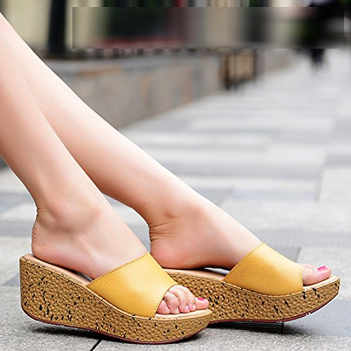 ZYUSHIZ Ding ziehen Frau Hausschuhe Sandalen Strand Outdoor der minimalistischen Stil Koreanische Version Gelb