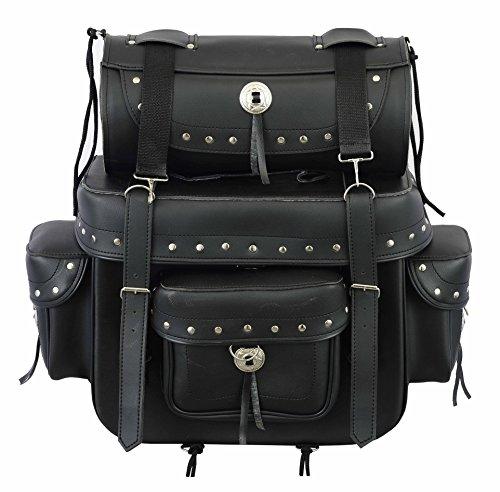 538Echt Leder Serie–profirst Wasserdichte Motorrad 2Stück Sattel/Gepäcktasche Packtasche mit Tool Rolle Box Heavy Duty Produkt Touring Cruiser Motorräder–Full Black
