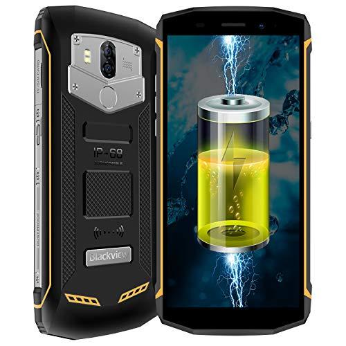 Blackview BV5800 Pro 4G Outdoor Smartphone Dual SIM mit 5.5 Zoll (5800mAh Akku Qi-fähig, 13MP+8MP Kameras, IP68 Wasserdicht, 2GB+16GB Speicher, Fingerabdruck entsperren, OTG, NFC, Kompass) Gelb (Mit Smartphone Sim-karte)