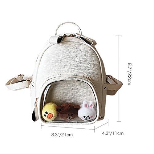 Vbiger Frauen Rucksack PU Leder Schulschulterbeutel Mini Reise Tagesrucksack Schicker Rucksack im Freien Weiß