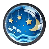 Stelle E Luna 4 Pezzi Maniglia del cassetto per Armadio Guardaroba pomelli per mobili in Vetro Cristallo Arredamento Elegante Camera da Letto Camera da Letto miglior Regalo per Bambini 3,5 X 2,8 cm