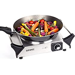 Duronic HP1SS – Placa de cocción eléctrica color negro con mangos, Potencia 1500W – Termostato de control