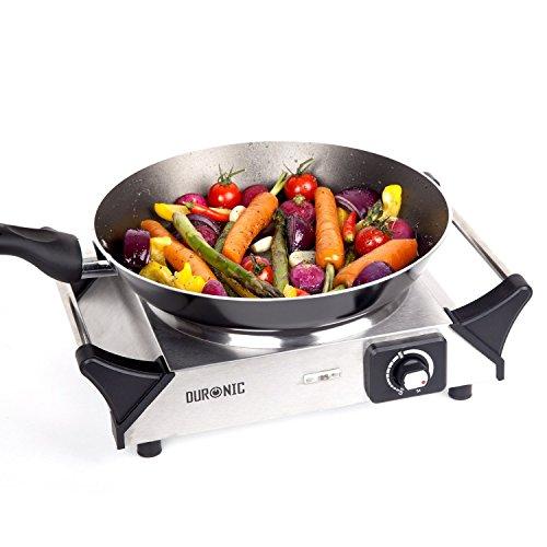 Duronic HP1SS Plaque de cuisson chauffante électrique en fonte - Réchaud de 1500W avec thermostat - Poignées intégrées -