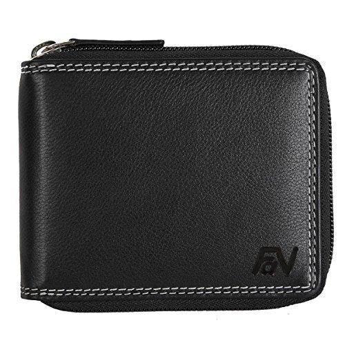 Schwarze Ledergeldbörse aus echtem Rindnappa- Leder mit Reißverschluss Portemonnaie Geldbeutel #BlZip07 (Herren-doppel-reißverschluss-geldbörse)