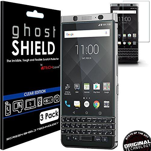 TECHGEAR [3 Stück Displayschutz Kompatibel mit BlackBerry KeyOne - [ghostshield] Genuine verstärkte TPU Displayschutzfolie Guard mit Gesamte Bildschirm Deckung inkl. Gebogener Bereich