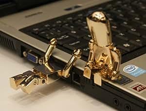 cle usb 32GO fun originale design - or Metall Robot USB Memory Stick - Flash Drive / Schule / Neuheit / Geschenk