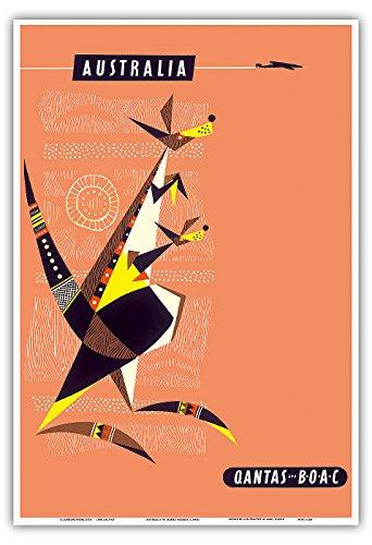 australia-kangaroo-and-baby-joey-australian-aboriginal-art-qantas-empire-airways-qea-boac-british-ov