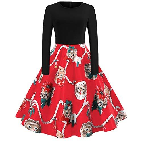 Qmber Kleider Damen Kleid 1950er Vintage Retro Brautjungfernkleid Petticoat Lange Ärmel Ballkleid Hepburn, Bänder Frohe Weihnachten Santa Claus Print Party Midi Kleid(X-Large,4)